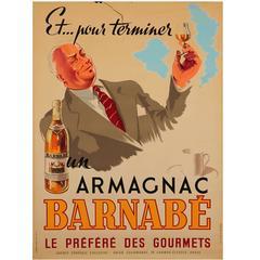 Poster 'Armagnac Barnabé' Litografi Paris, 1946