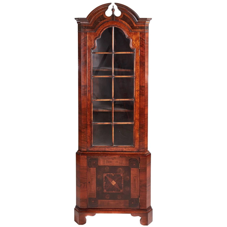 Ann mirror insert double door single drawer wooden corner cabinet - Early 20th Century Queen Anne Inspired Burr Walnut Corner Cabinet For Sale At 1stdibs