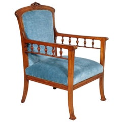 Italian 1910s Art Nouveau Armchair Hand Carved walnut , Eugenio Quarti manner