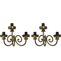 Pair of Three-Arm Gold Sconces