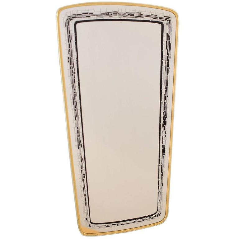 Mid-Century Eglomise Wall Mirror with Brass Frame