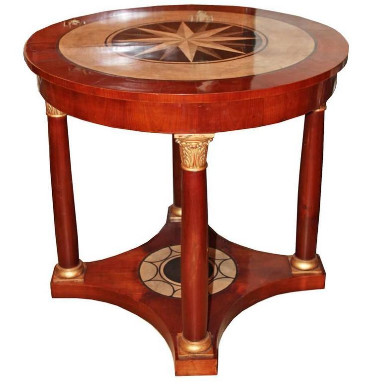 19th Century Italian Mahogany, Parcel-Gilt and Scagliola Center Table 1
