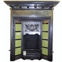 Antique Edwardian Cast Iron Burnished Fireplace with Tiles