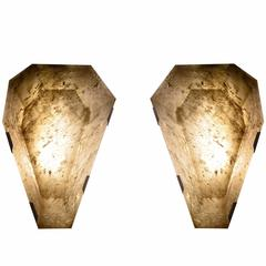 Pair of Diamond Form Smoky Brown Rock Crystal Sconces