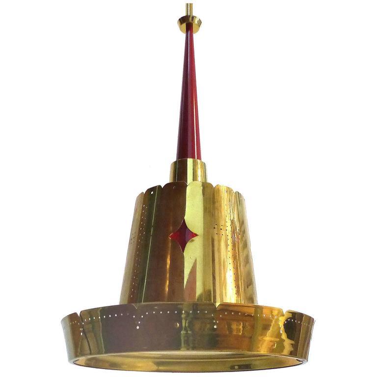 Mid Century Modern Brass Pendant Fixture At 1stdibs