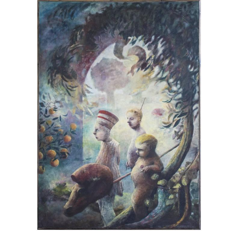 Late 20th Century Surreal Scene, Oil on Canvas