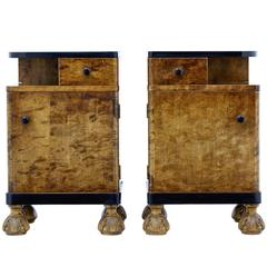 Fine Pair of Birch Art Deco Bedside Cupboards