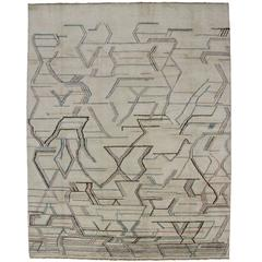 Contemporary Moroccan Style Area Rug with Geometric Abstract Art Design