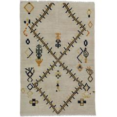 Moroccan Rug with Tribal Style and High Low Pile, Two Layer Barjasteh Rug