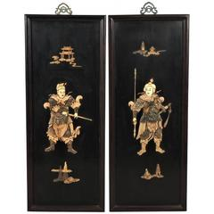 Pair of Extraordinary Large Chinese Hard Stone Plaques with Warriors