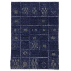 Contemporary Moroccan Style Rug in Cobalt Blue High Low Pile, Two Layer