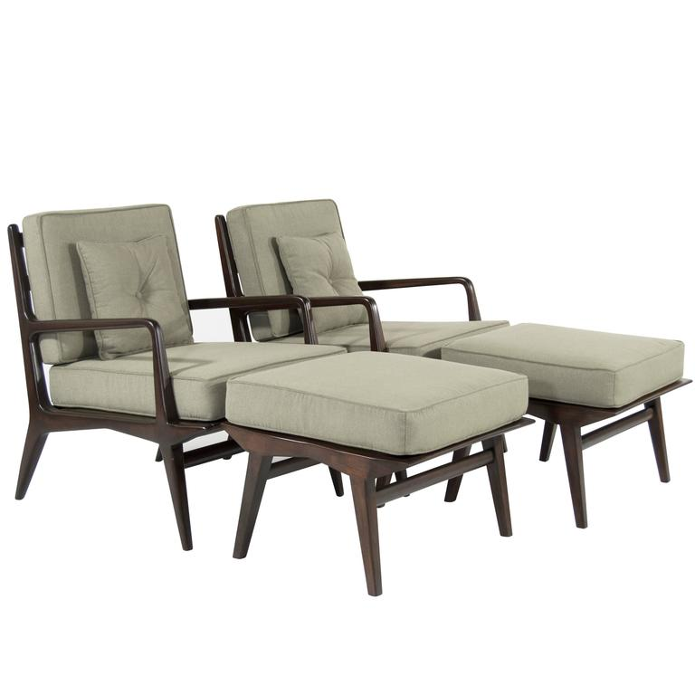 Pair of Carlo di Carli Lounge Chairs and Ottomans for M. Singer & Sons, 1950s