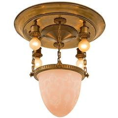 Classical Revival Drop Chandelier with Cased Cameo Bowl, circa 1920s
