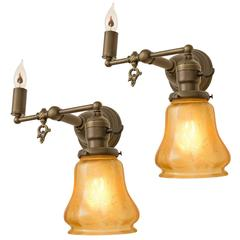 Victorian Wall Lights: Pair of Gas-Electric Sconces with Iridized Amber Shades, circa 1905,Lighting