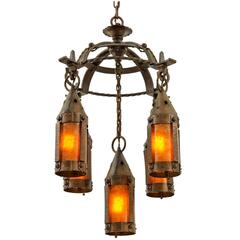 Wrought Iron Arts & Crafts Chandelier with Mica Lanterns, circa 1915