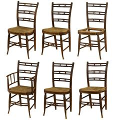 Set of Six Rare Federal Painted Fancy Chairs, circa 1820s