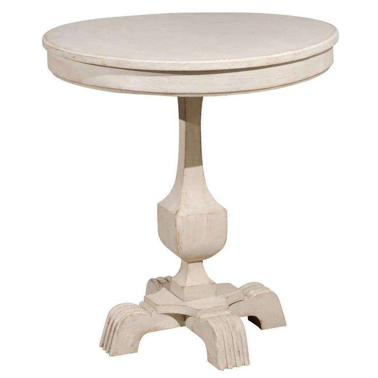 Swedish Cream Painted Wood Guéridon Table with Pedestal Base, circa 1890 For Sale