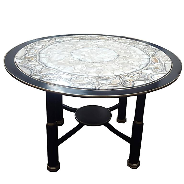 Sculptural Ebonized Bronze-Mounted Center Table with Onyx Top 1