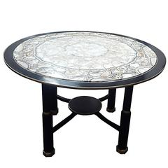 Sculptural Ebonized Bronze-Mounted Center Table with Onyx Top