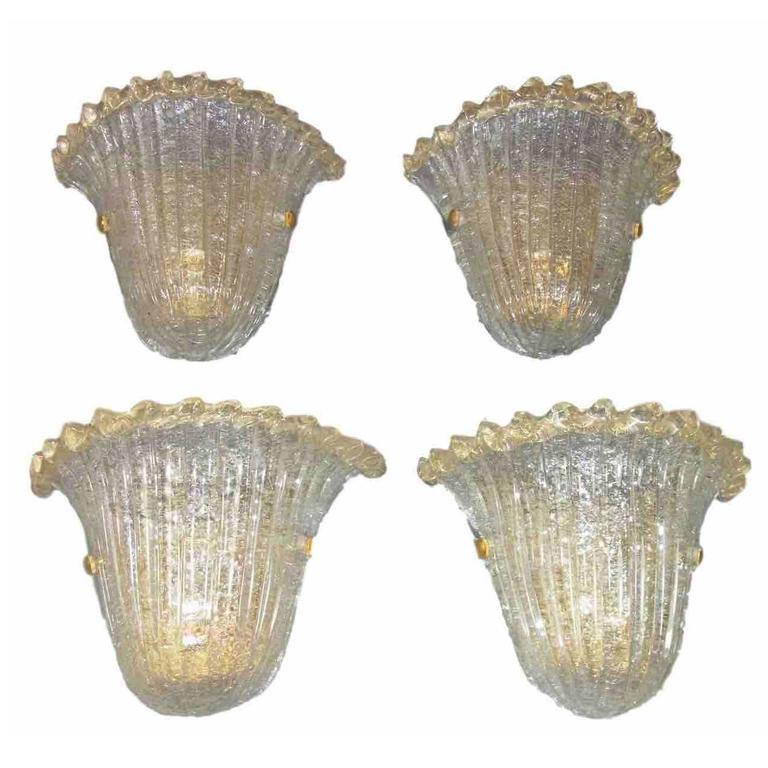 Two Pair of Shell Sconces Attributed to Barovier e Toso