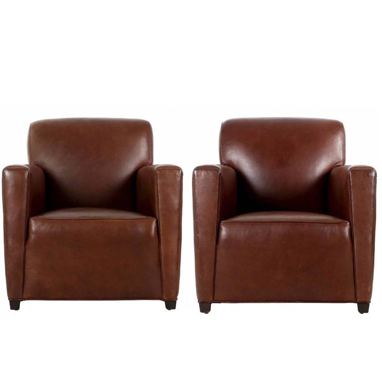 pair of coach inc brown leather club chairs in the art deco taste at 1stdibs. Black Bedroom Furniture Sets. Home Design Ideas
