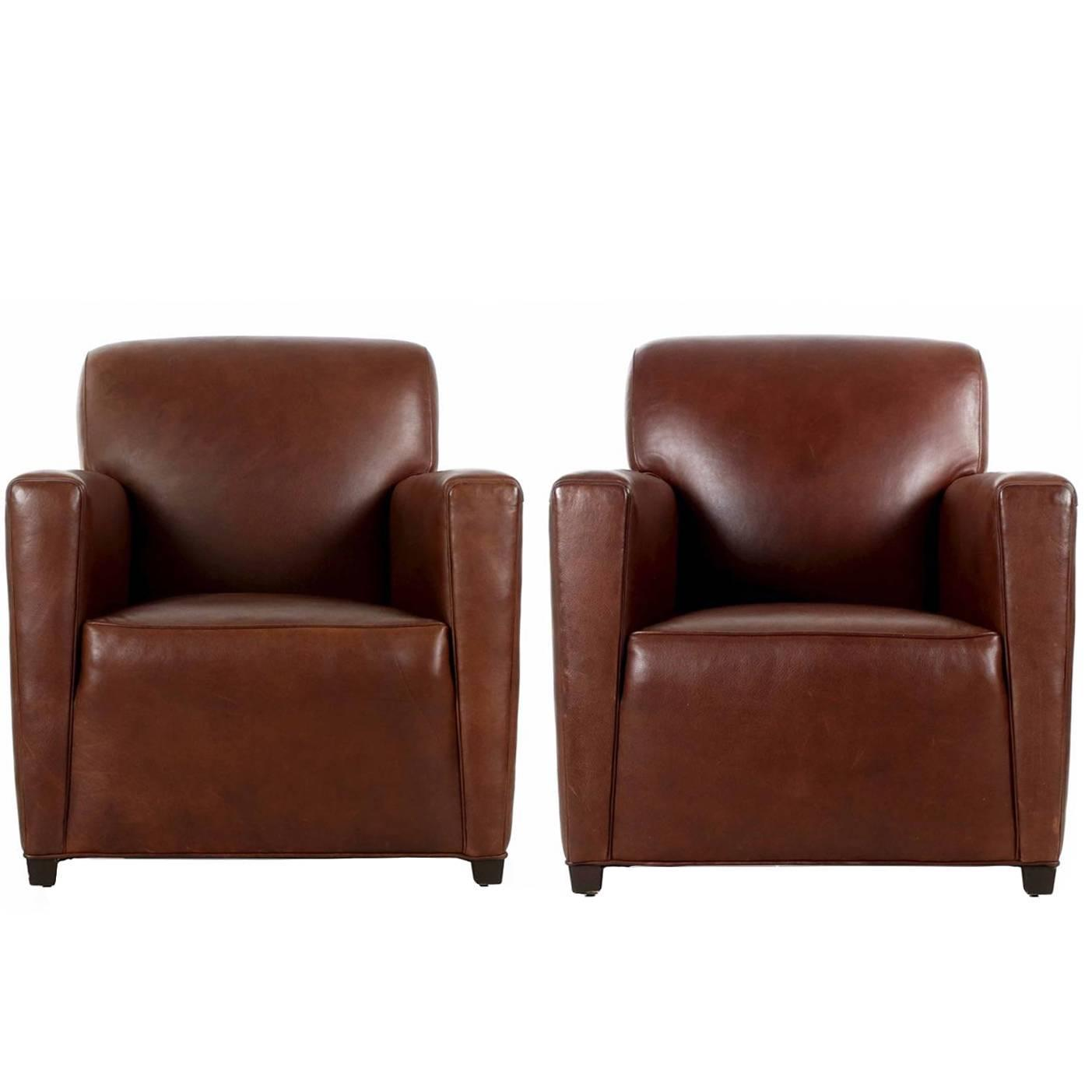Merveilleux Pair Of Coach Inc. Brown Leather Club Chairs In The Art Deco Taste At  1stdibs
