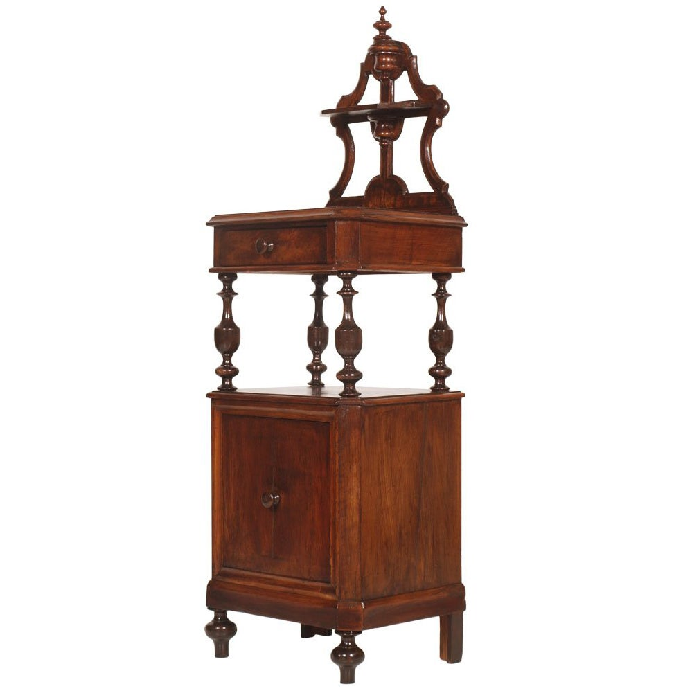 Italy Mid-19th Century Bedside Louis Philippe in Walnut Turned, Hand-Carved
