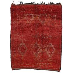 Mid-Century Modern Red Berber Moroccan Rug with Tribal Style