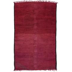 Mid-Century Modern Berber Moroccan Rug in Raspberry with Boho Chic Style