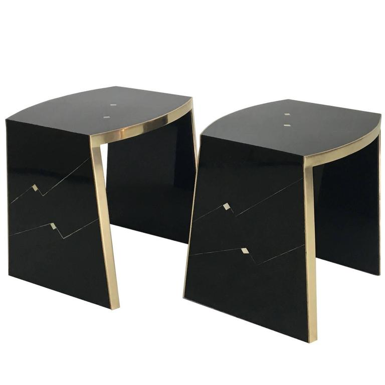 Pair of Ron Seff Gilt and Lacquer Side Tables