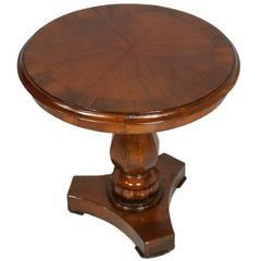 Italian Neoclassical Early 20th Century Round Table, Solid Walnut and Burl