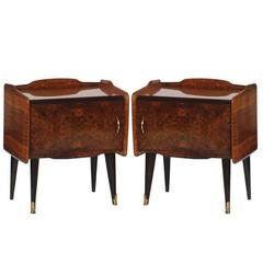 Paolo Buffa Manner Italian Mid-Century Modern Bedside Tables Burl Walnut, 1940s
