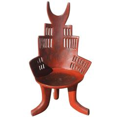 Weathered Red Carved Wood Chair, Ethiopia, 19th Century
