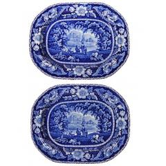 Pair of Historical Staffordshire Flow Blue Large Platters
