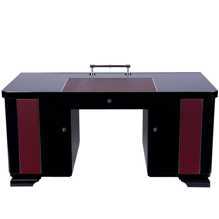 Art Deco Desk with Leather Applications For Sale