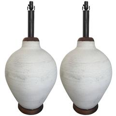 Pair of Gigantic Mid-Century Modern Pottery Lamps