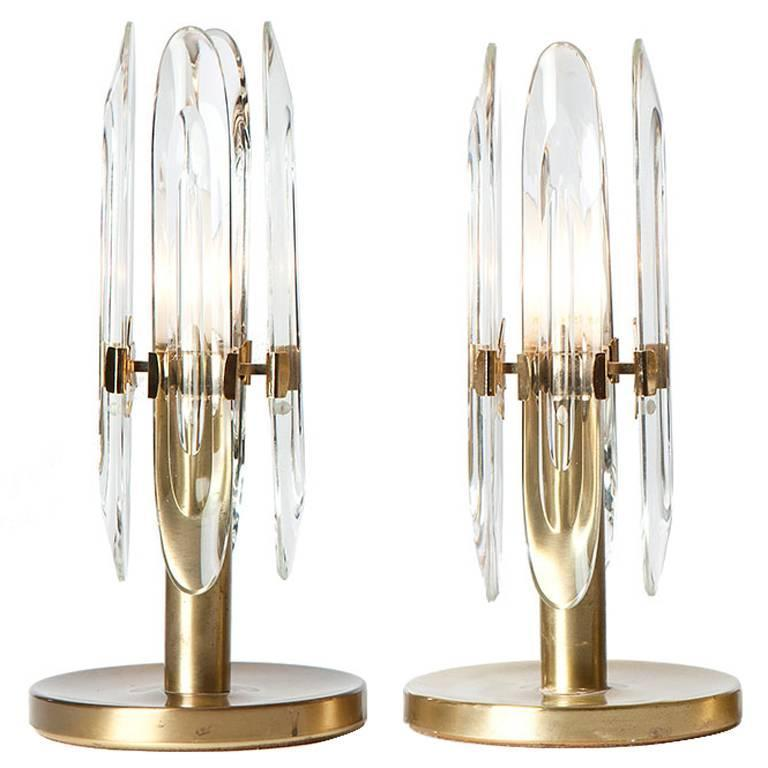 1970s Brass and Glass Table Lamps by Gaetano Sciolari