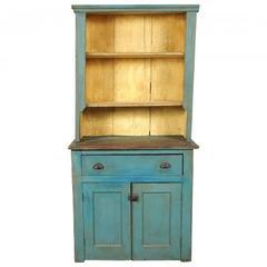 Antique Blue Paint Decorated Cupboard