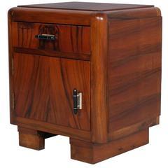 1930s Italian Art Deco Walnut and Walnut Applied Bedside Nightstand Cabinet