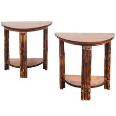 Pair of Walnut and Rattan Demilune Tables