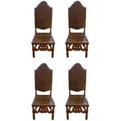 Set of Four Portuguese Leather Chairs
