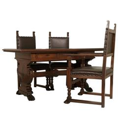 Late 19th Century Desk with Chairs, Tuscan Renaissance Dini & Puccini di Cascina