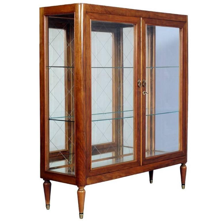 Mid Century Modern Display Cabinet Giò Ponti Manner Cherry Wood, 1950s For  Sale