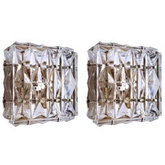 Pair of Wonderful Crystal Glass Wall Ceiling Lights Sconces, Austria, 1960s
