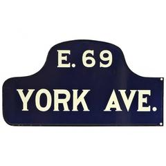 New York City Double Sided Porcelain Humpback Street Sign E. 69 & York Ave