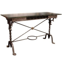 1920s Hand Wrought Iron Bank Table by Samuel Yellin