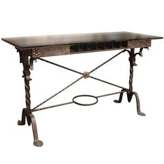 1920s Wrought Bronze Bank Table by Samuel Yellin