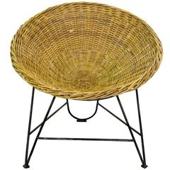 Mid-Century French Wicker Chair on Iron Stand