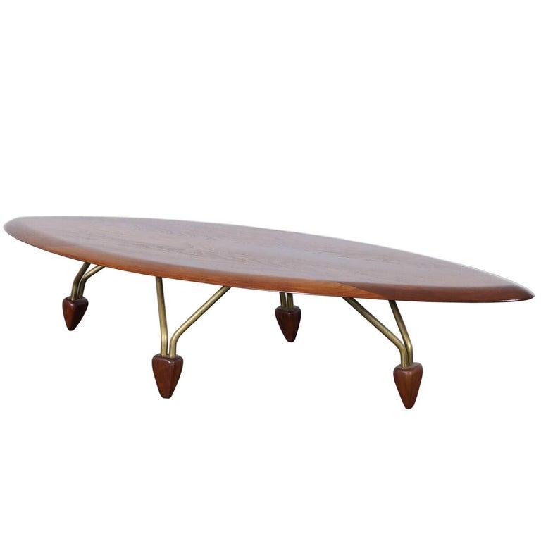 """Vintage Walnut """"Surfboard"""" Coffee Table by John Keal"""