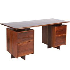 George Nakashima Walnut Double Pedestal Desk, 1977